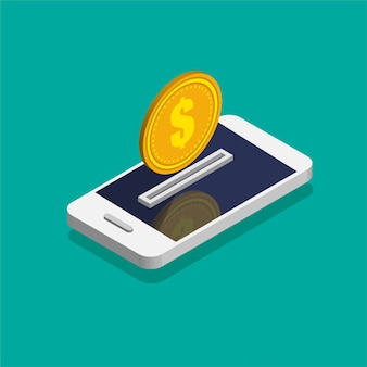 Smartphone con l'icona della moneta da un dollaro in stile isometrico alla moda. movimento di denaro e pagamento online. concetto di banking online. rimborso o rimborso in denaro. illustrazione isolata