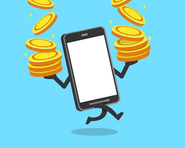 Smartphone con la pila di monete dei grandi soldi