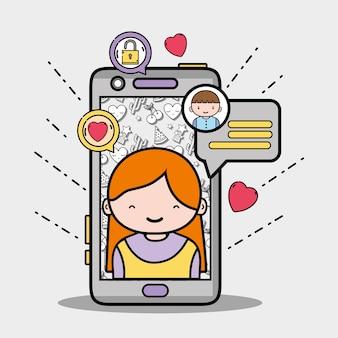 Smartphone con la ragazza dentro e messaggio della bolla di chiacchierata