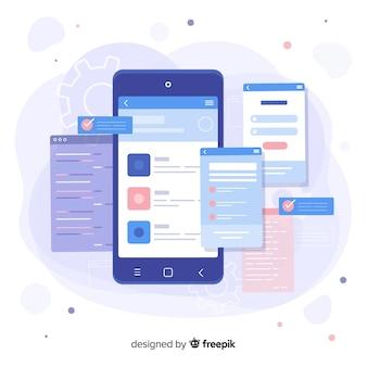 Smartphone con landing page a pagine aperte