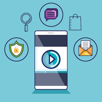 Smartphone con lettore video sullo schermo. tecnologie di streaming mobile