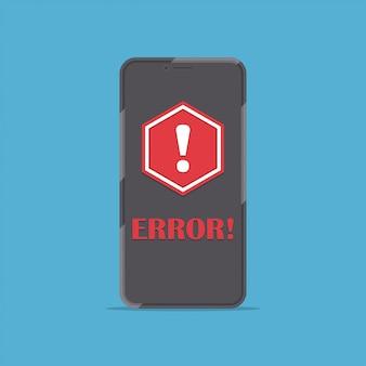 Smartphone con messaggio di avviso rosso