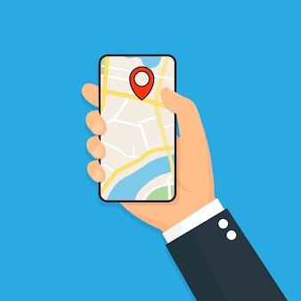 Smartphone con navigazione gps mobile. illustrazione piatta