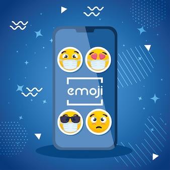 Smartphone con set emoji, facce gialle nella progettazione dell'illustrazione di vettore del dispositivo dello smartphone