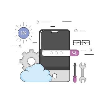Smartphone con software di programmazione di codici web