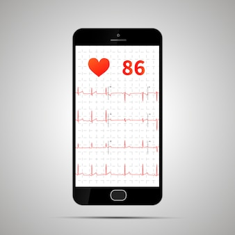 Smartphone con tipico elettrocardiogramma umano