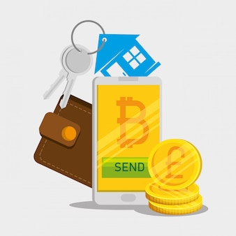 Smartphone con valuta bitcoin e portafoglio con chiavi di casa