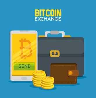 Smartphone con valuta bitcoin e valigetta con portafoglio