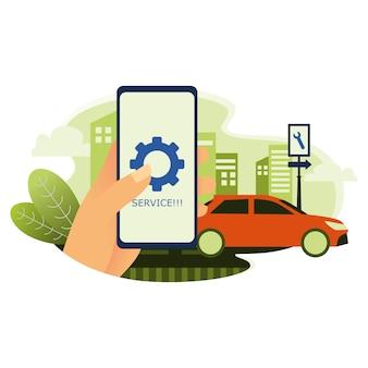Smartphone dà un promemoria per il servizio di auto