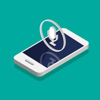 Smartphone design isometrico con icona microfono sullo schermo.