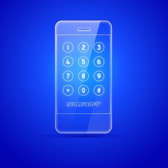 Smartphone di vetro sul blu