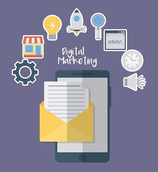 Smartphone e busta con icone relative al marketing digitale