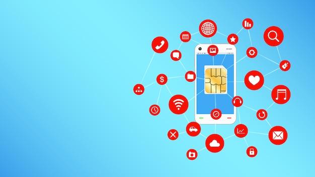Smartphone e sim card con l'icona di applicazioni galleggianti