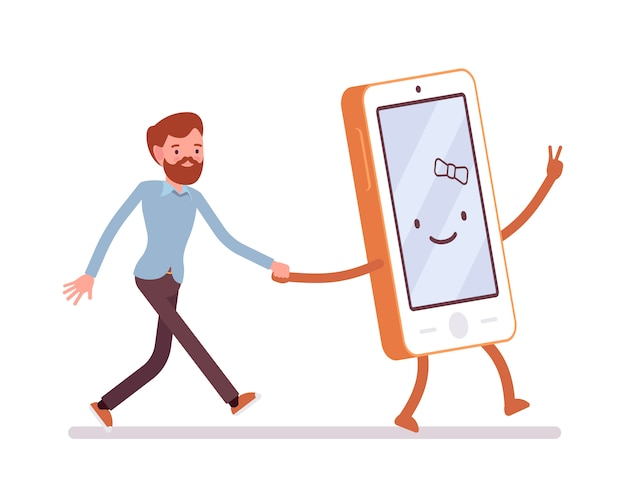 Smartphone e uomo stanno camminando tenendo una mano