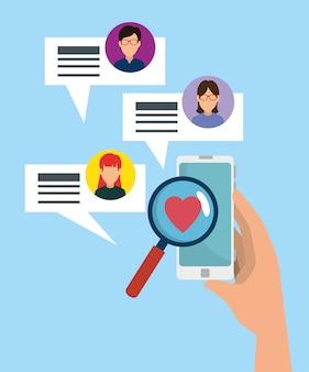 Smartphone in mano con bolle di chat sociale