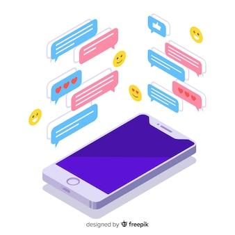 Smartphone isometrico con il concetto di chat