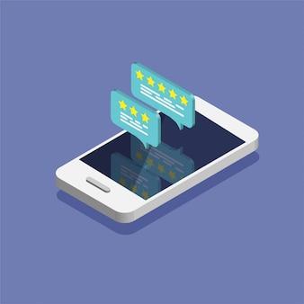 Smartphone isometrico con tasso di recensioni sullo schermo.