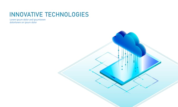 Smartphone isometrico di archiviazione online di cloud computing. tecnologia di affari di internet moderna futura di informazioni di grandi quantità di dati. illustrazione disponibile d'ardore blu del fondo di scambio di file globale