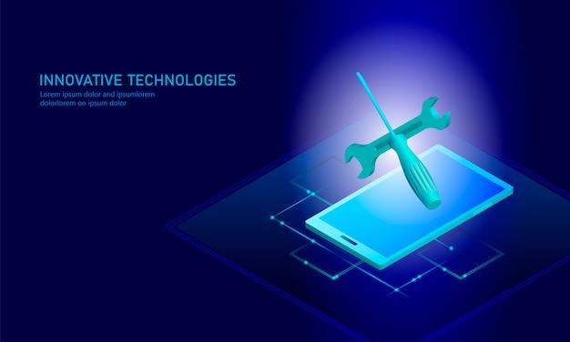 Smartphone isometrico di riparazione di servizio informatico, tecnico piano blu 3d