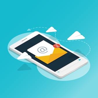 Smartphone isometrico invia messaggio razzo di carta, hai la posta, le notifiche delle applicazioni v