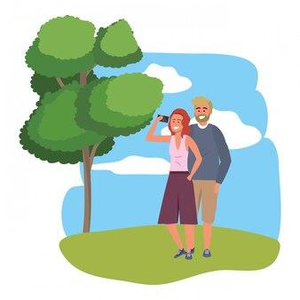 Smartphone millenario delle coppie che prende la struttura del selfie