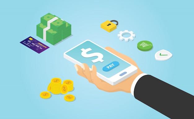 Smartphone mobile di uso di pagamento con la stretta della mano e l'icona dei soldi con stile isometrico moderno