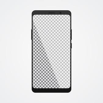 Smartphone mock up con schermo trasparente su bianco