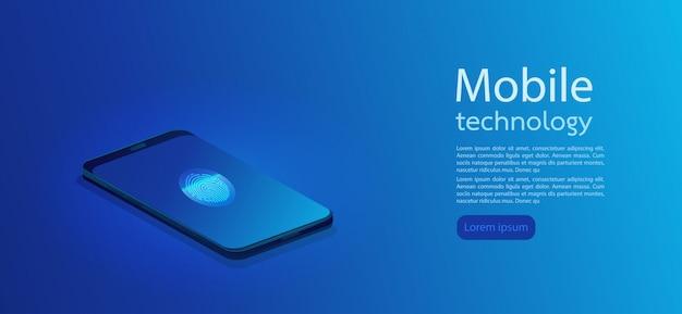 Smartphone moderno 3d realistico con la priorità bassa astratta di gradiente. illustrazione vettoriale