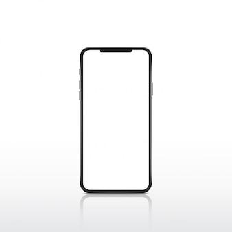 Smartphone moderno realistico con schermo bianco.