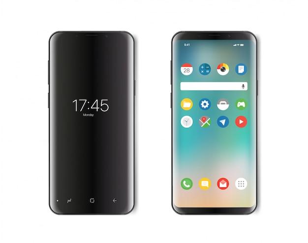 Smartphone moderno. versione schermo acceso e spento