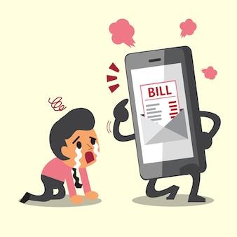 Smartphone mostra pagamento di bolletta elettronica per uomo d'affari