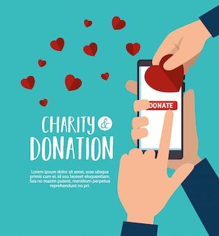 Smartphone per donazione di beneficenza online