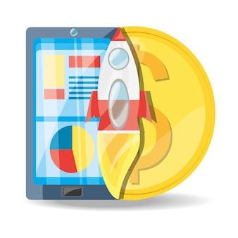 Smartphone, razzo e moneta concetto di marketing digitale