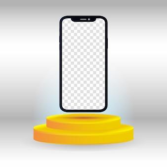 Smartphone realistico con podio d'oro