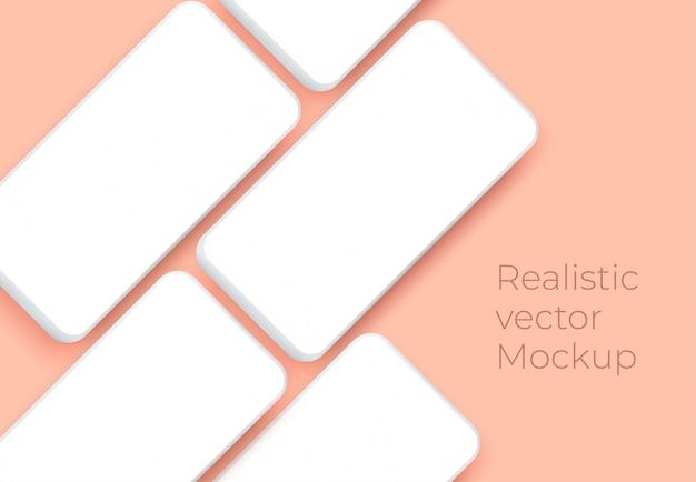Smartphone realistico con schermo bianco bianco per la presentazione dell'applicazione mobile.