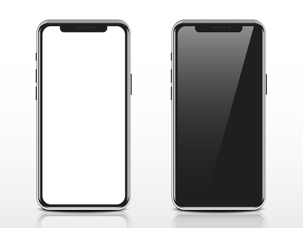Smartphone realistico con schermo bianco e nero