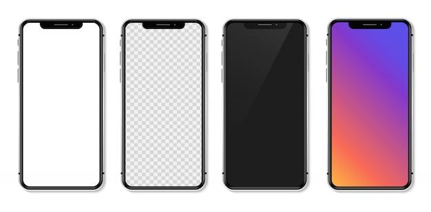 Smartphone realistico con schermo bianco vuoto. illustrazione
