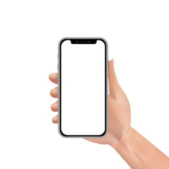 Smartphone realistico della tenuta della mano con lo schermo attivabile al tatto in bianco o vuoto isolato
