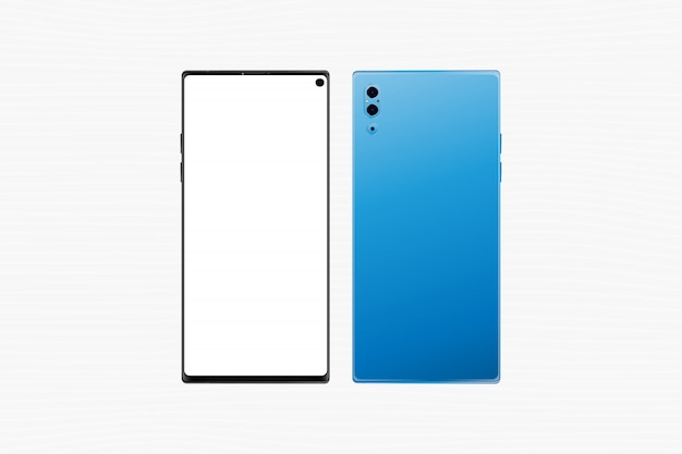 Smartphone realistico, facciata frontale con lo schermo e parte posteriore con le macchine fotografiche isolate su bianco