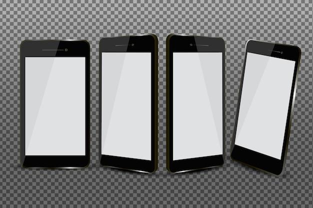 Smartphone realistico in diverse viste impostate