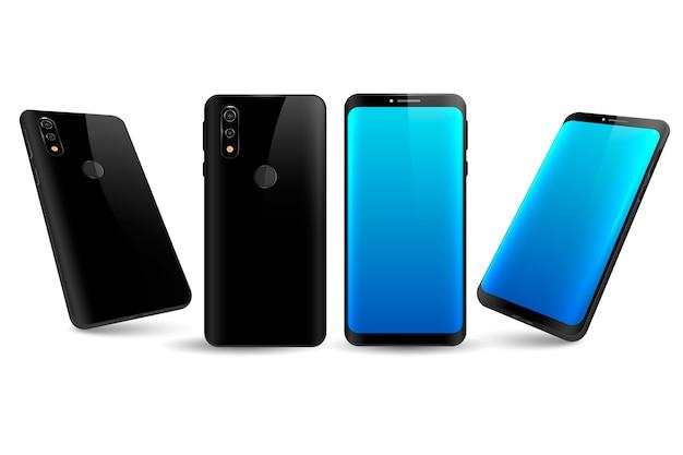 Smartphone realistico in diverse visualizzazioni con desktop blu