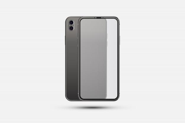 Smartphone realistico. parte frontale con schermo trasparente e parte posteriore con telecamere