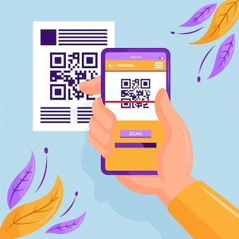 Smartphone scansione concetto di codice qr