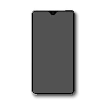 Smartphone senza cornice con display grigio.