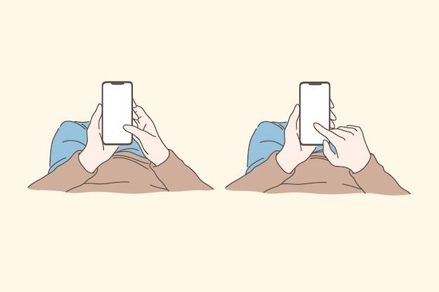 Smartphone, tecnologia, social media, dipendenza, concetto di set di comunicazione