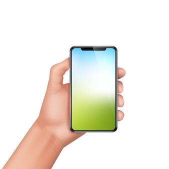 Smartphone umano realistico della tenuta della mano 3d. modello, mock up per app mobile o pubblicità.
