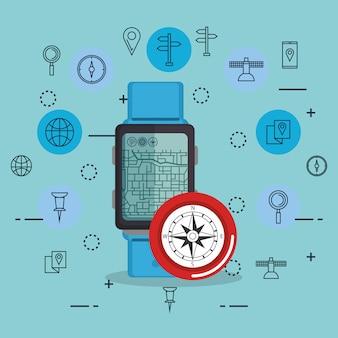 Smartwatch con app di navigazione gps