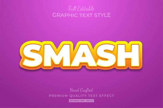 Smash cartoon modificabile stile di testo personalizzato effetto premium