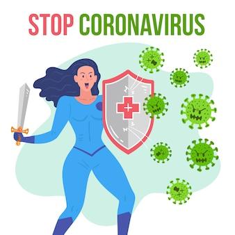 Smettere di coronavirus donna che combatte il concetto di batteri