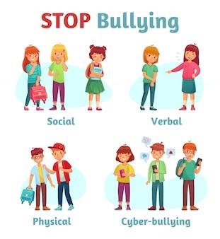 Smetti di bullismo a scuola. spaccone adolescente aggressivo, aggressione verbale del ragazzo e violenza adolescenziale o illustrazione di tipi di bullismo